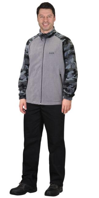 Куртка флисовая т.серая с КМФ Мультикам серый