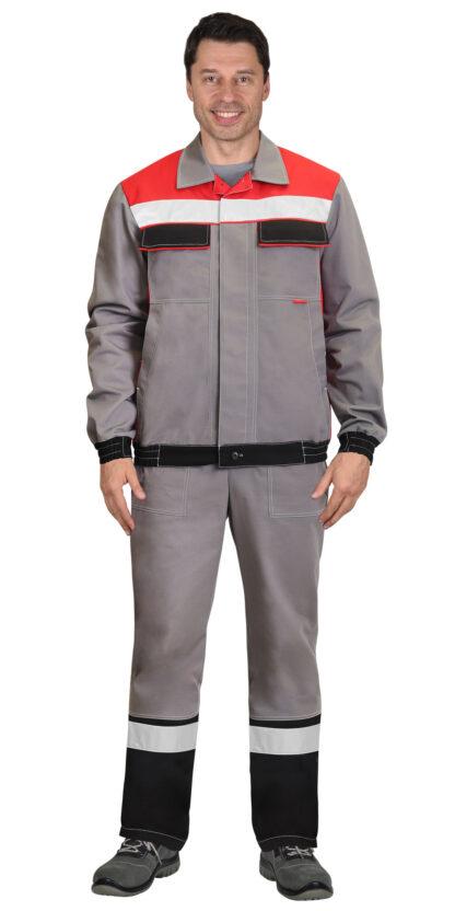 Куртка 4120 средне-серая с красным и СОП